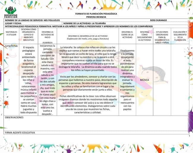 Formatos de Planeaciones Pedagógicas