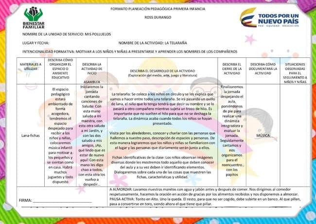 Ejemplo de Planeación Pedagógica ICBF
