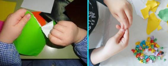 Habilidad motriz: Rasgado de papel con los dedos