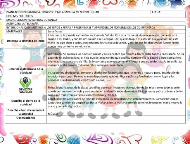 Planeación pedagógica icbf