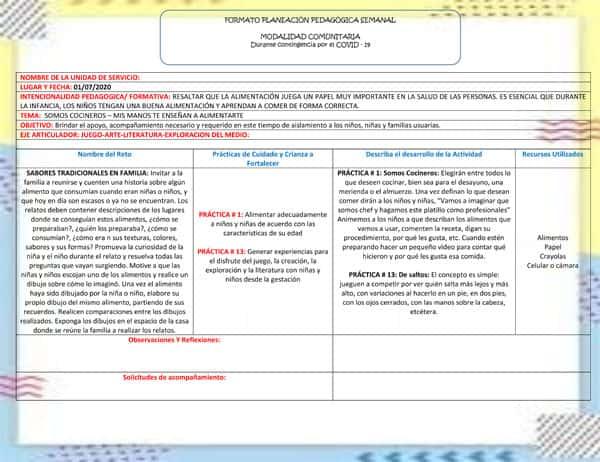 Formato de Planeación pedagógica para Hogares Comunitarios