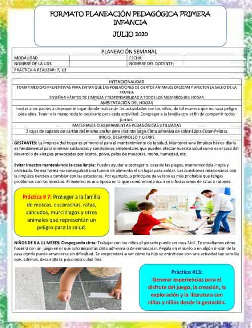 Formato de Planeación Pedagógica para Modalidad familiar