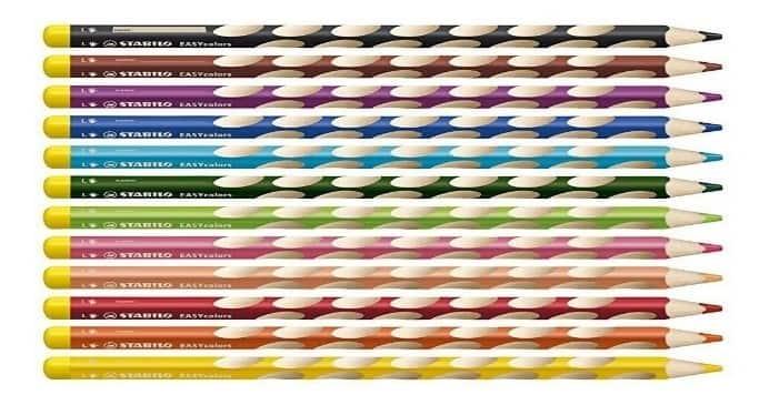 Lápices de colores para niños zurdos