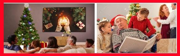 Reunirse al rededor del árbol de navidad